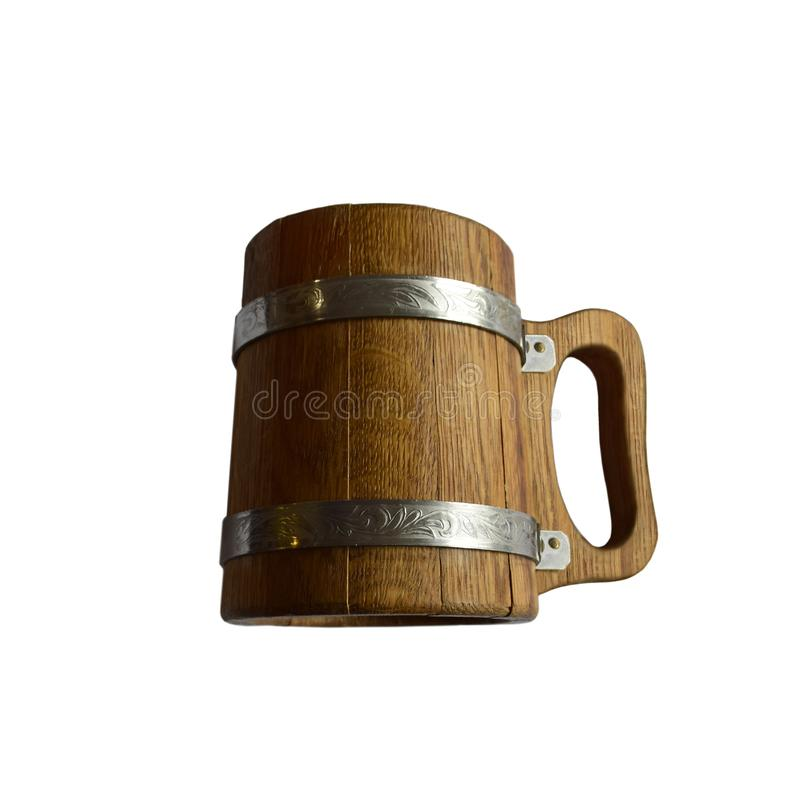 Wooden beer mug. Isolated on white background stock photos