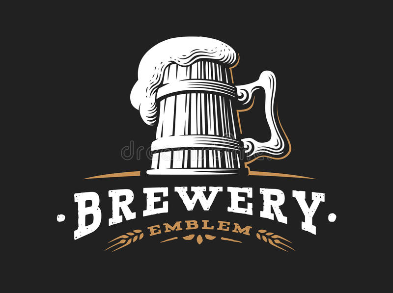 Wooden beer mug logo- vector illustration, brewery design. Wooden beer mug logo- vector illustration, emblem brewery design on dark background stock illustration
