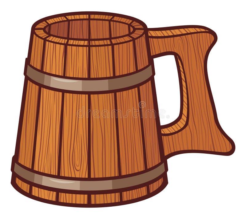 Wooden beer mug. Sign, beer mug vector illustration
