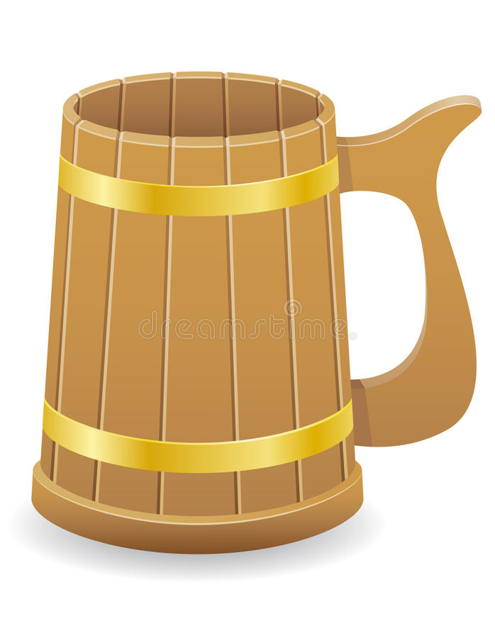Wooden beer mug vector illustration. On white background royalty free illustration