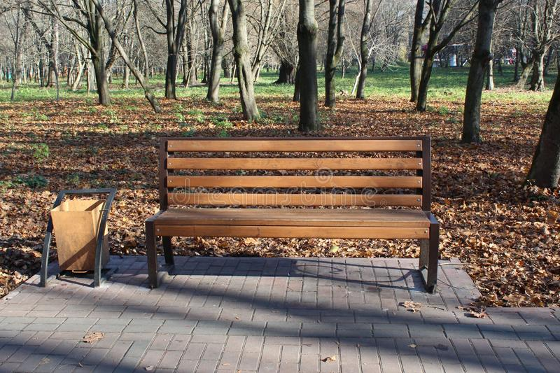 Wooden bench in the city park royalty free stock photos