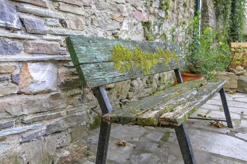 Wooden bench covered with moss stock images