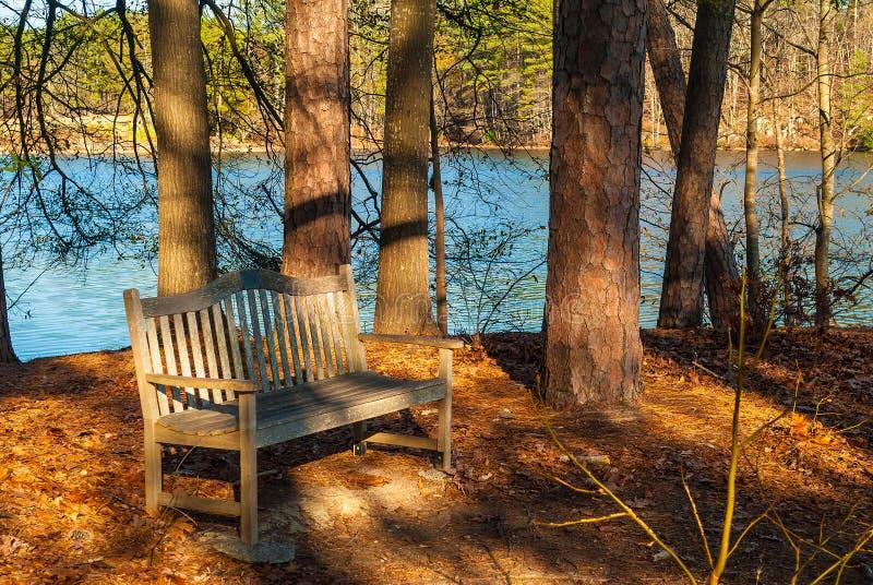 Bench in Stone Mountain Park, USA. The wooden bench and the lake in the Stone Mountain Park in sunny autumn day, Georgia, USA stock photos