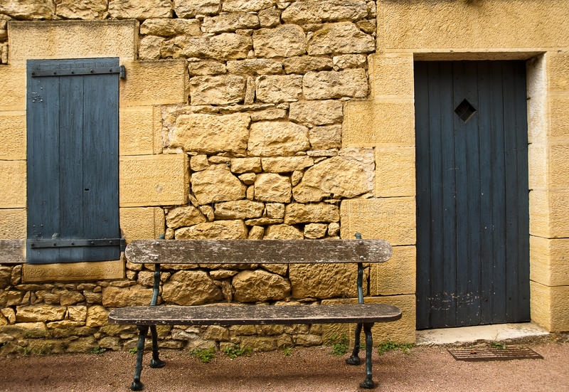 Wooden bench Le Jardin Marqueyssac France stock photos