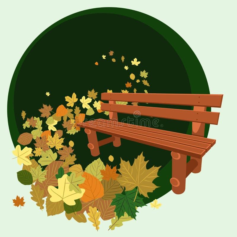 Download Wooden bench and leaves stock illustration. Illustration of header - 26811038