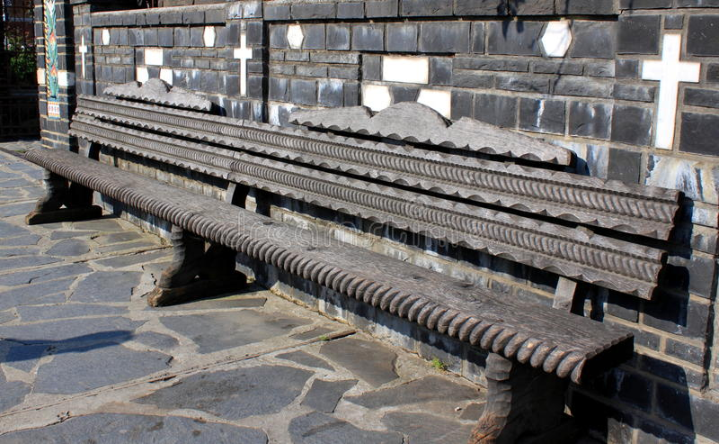 Wooden bench in Maramures stock photo