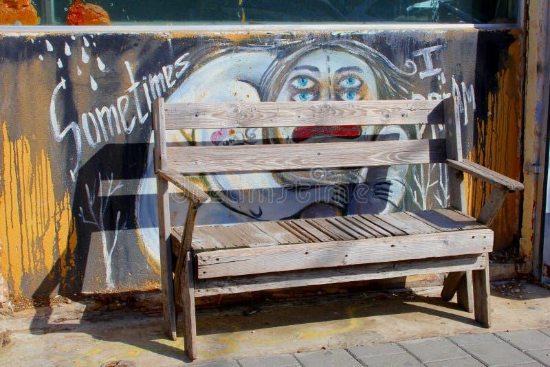 February 2019, Wooden bench street art paintings, Florentin, Tel Aviv royalty free stock images