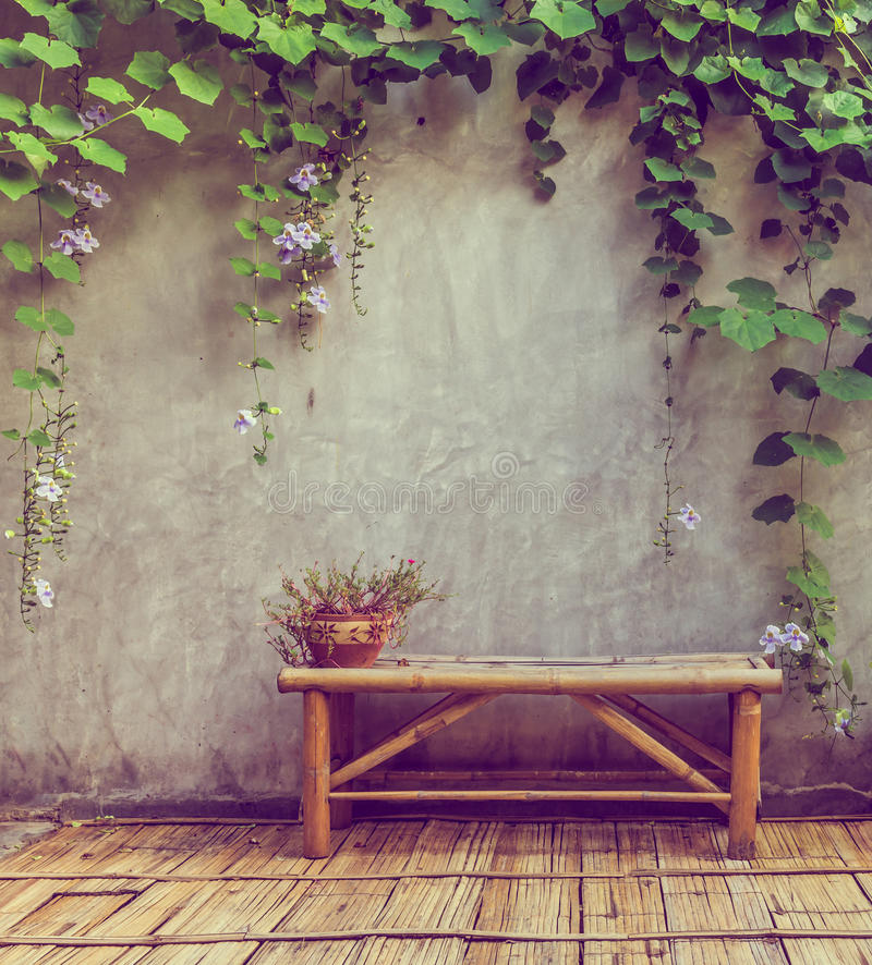 wooden bench at the park stock image