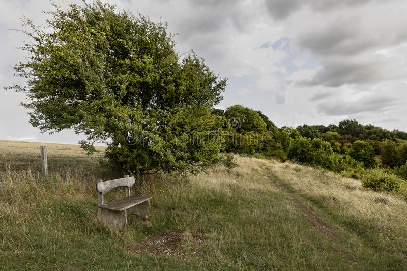 Wooden bench seat on hilltop stock photos