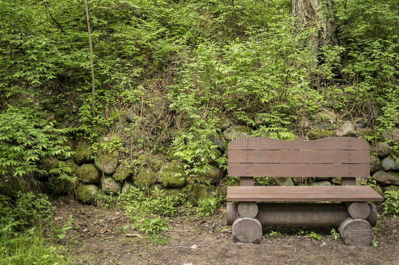 Wooden bench standing in a park beside the path, on the background wall of boulders covered with moss, grass and trees. royalty free stock image