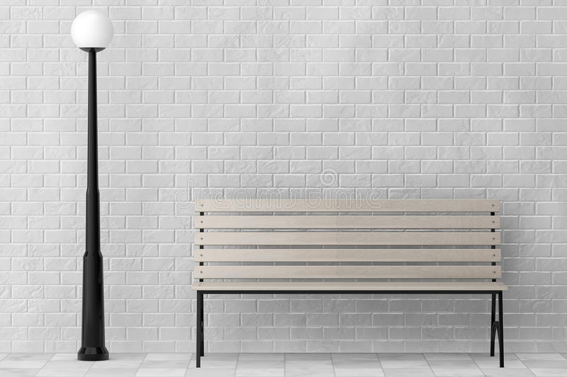 Wooden Bench and Street Lamp against white brick wall. Extreme closeup stock illustration