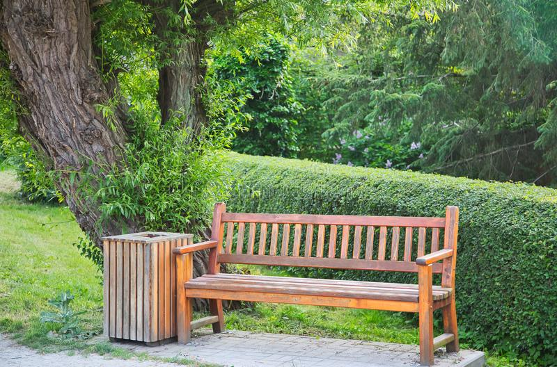 Wooden bench and waste bin under a tree in a park royalty free stock photography