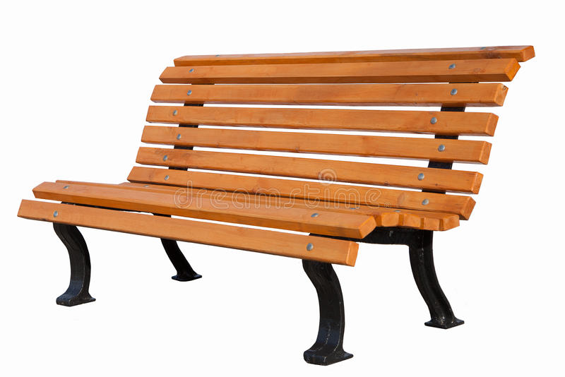 Wooden bench on white background royalty free stock image