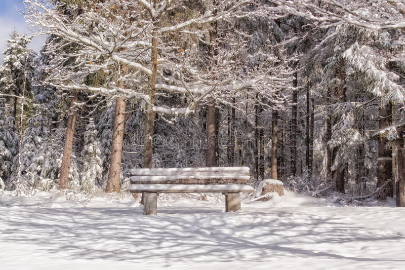 Wooden bench in a winter landscape royalty free stock photography