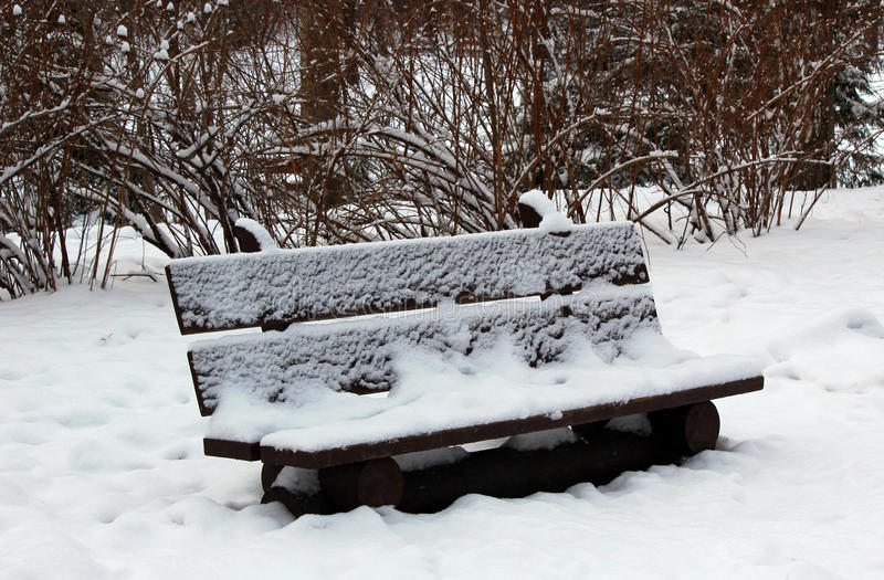 Download Wooden Bench In The Winter Park Stock Photo - Image: 83705916