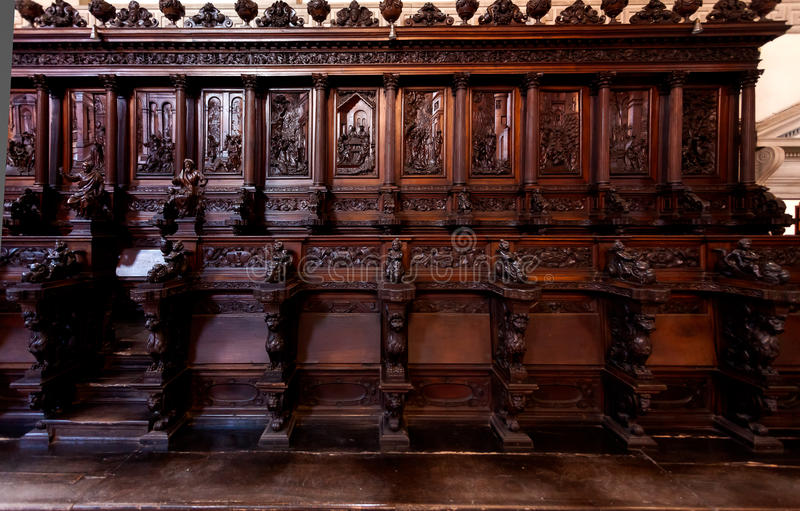 Wooden benches choir San Giorgio Maggiore Monastry church Venice, Italy royalty free stock images