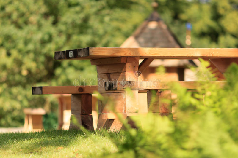 Wooden benches close up stock photo