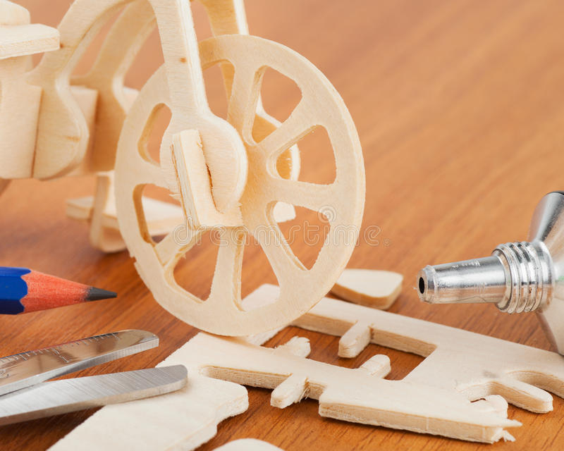 Download Wooden Bicycle Toy - Woodcraft Construction Kit Stock Photos - Image: 28960583