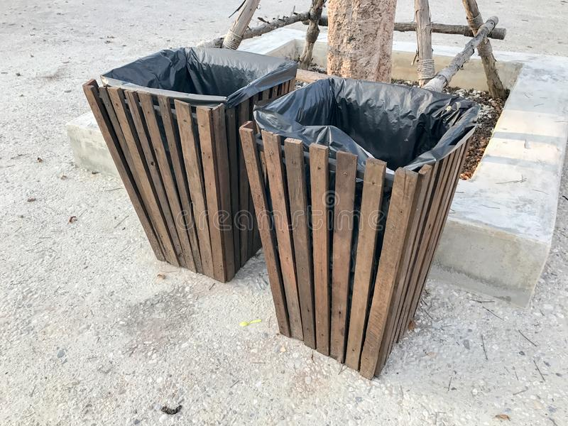 Wooden bin at the park. In thailand stock photography