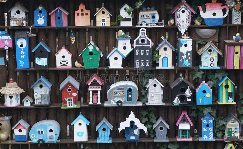 Wooden bird houses stock photo