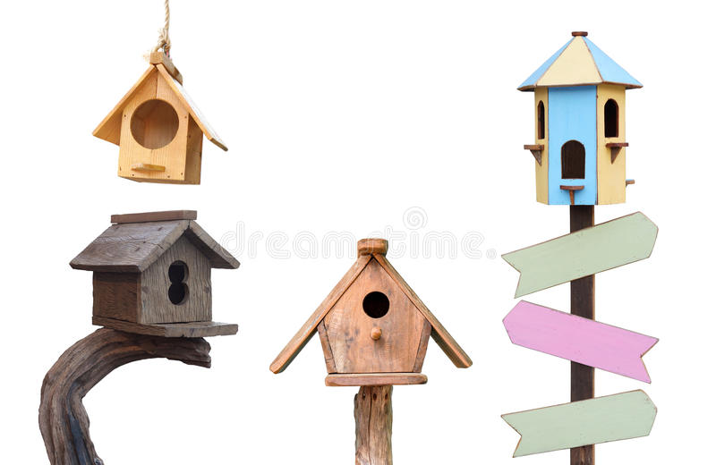 Wooden bird houses royalty free stock photos