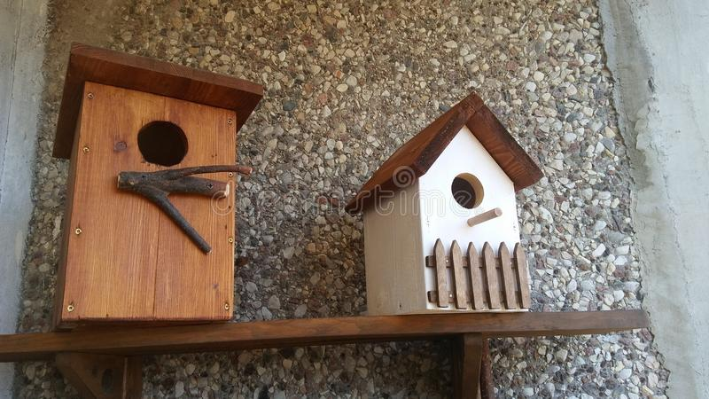 Wooden birds house is waiting royalty free stock image