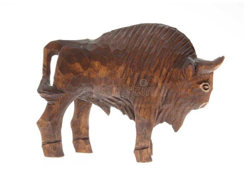 Wooden bison figure stock image