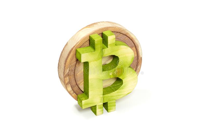 Wooden bitcoin sign, angled view, virtual cryptocurrency, isolated on white royalty free stock photo