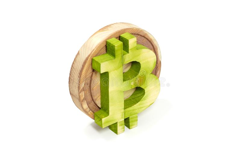 Wooden bitcoin sign, angled view, virtual cryptocurrency, isolated on white stock images
