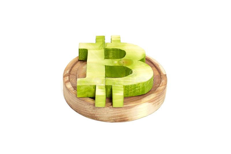 Wooden bitcoin sign, front view, virtual cryptocurrency royalty free stock image