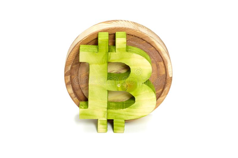 Wooden bitcoin sign, front view, virtual cryptocurrency stock photo