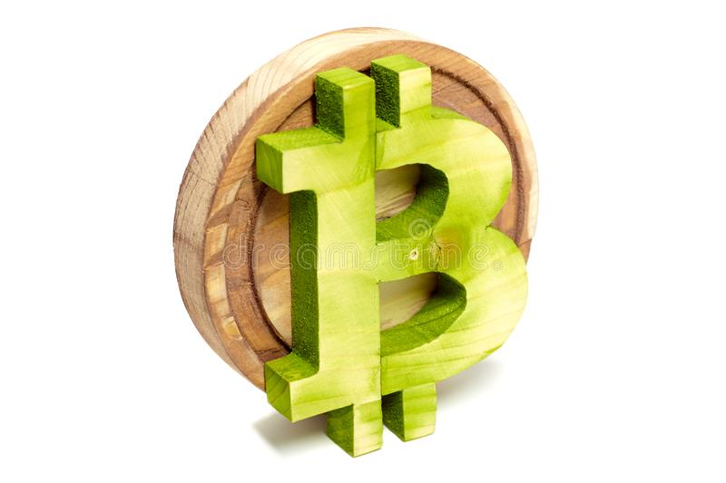 Wooden bitcoin sign, virtual cryptocurrency, isolated on white stock image