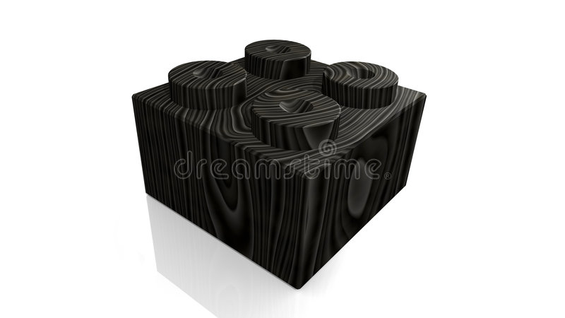 Wooden black lego block (3D). Wooden black lego block (3D made stock illustration