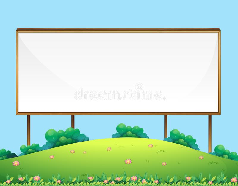 Wooden Blank Sign Board in Nature. Illustration royalty free illustration