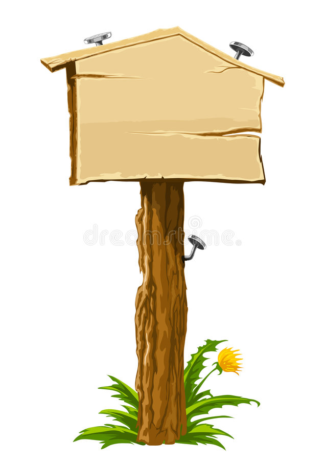 Wooden blank sign house for sale stock illustration