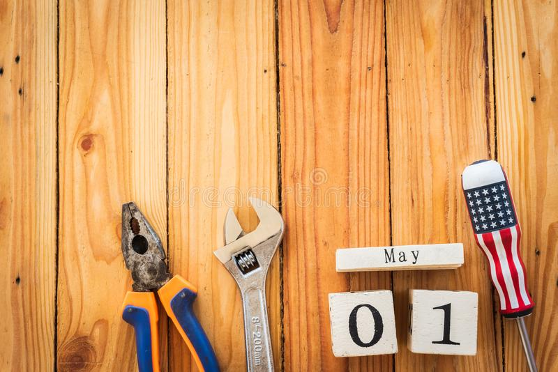 Wooden Block calendar for Labour Day, May 1. stock photo
