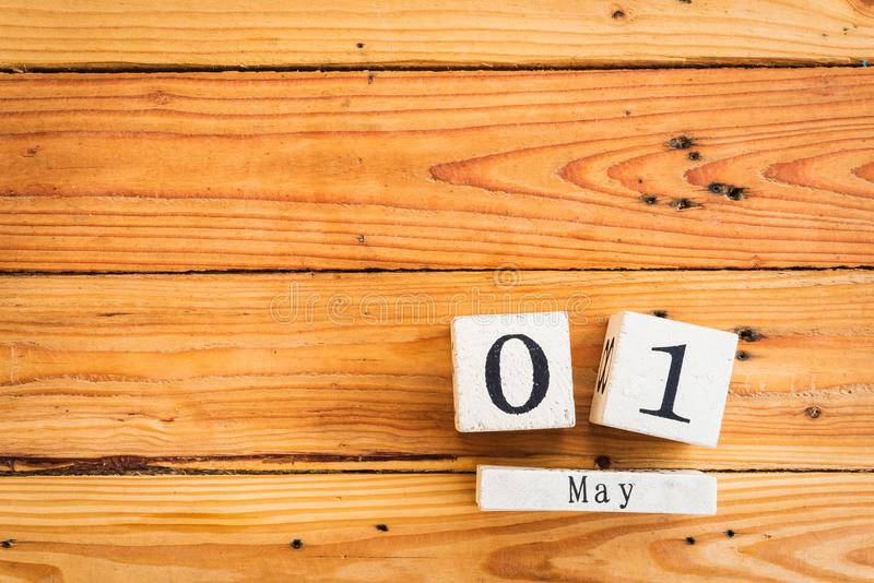 Wooden Block calendar for Labour Day, May 1 royalty free stock images