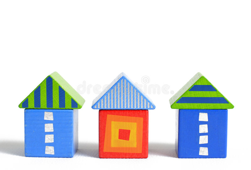 Download Wooden block house stock photo. Image of triangle, blocks - 502734