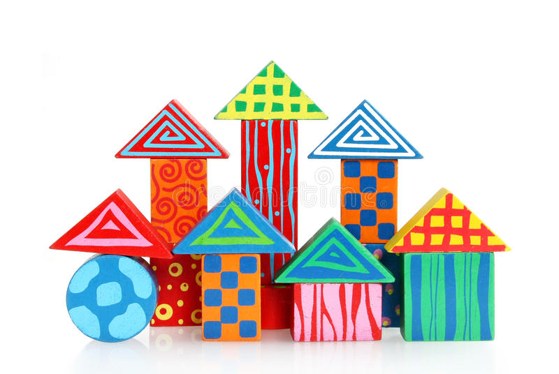 Wooden block houses. Colorful Wooden block houses, isolated stock image