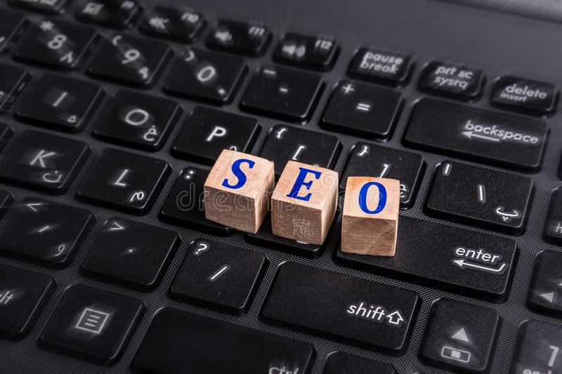 SEO on laptop royalty free stock images
