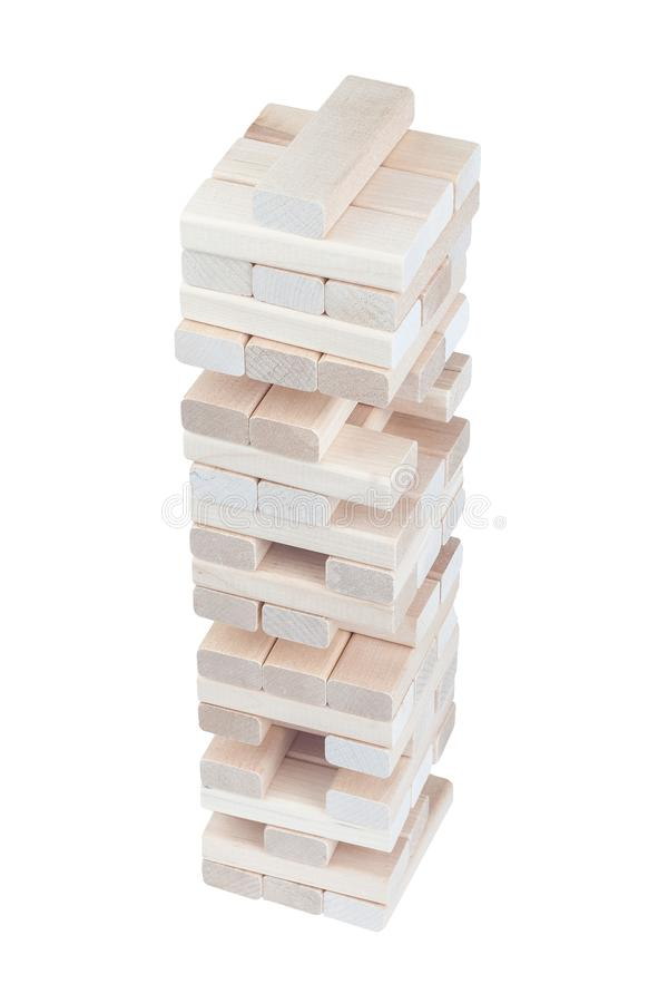 Wooden block tower desktop game isolated on white background stock photography