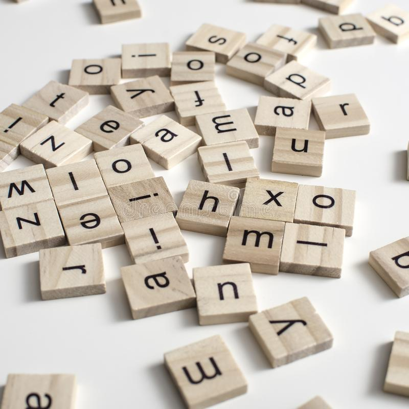 Wooden blocks alphabet on the wooden table royalty free stock photo