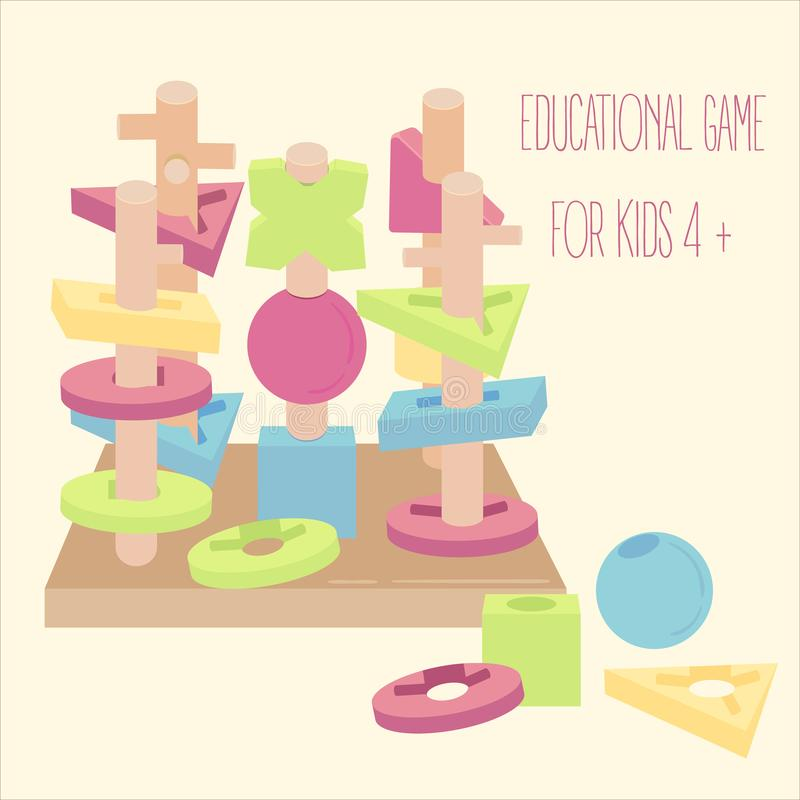 Wooden blocks beads on pegs educational game stock illustration