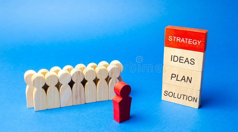 Wooden blocks with a business strategy: ideas, plan, solution and team of employees. Business management concept. Planning,. Innovation. Finance and money royalty free stock photography