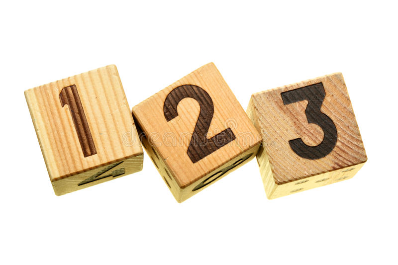 Wooden blocks with digits 123. Isolated over the white background royalty free stock photos