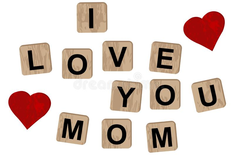 Wooden blocks spelling the inscription I love you on mom. On white background royalty free illustration