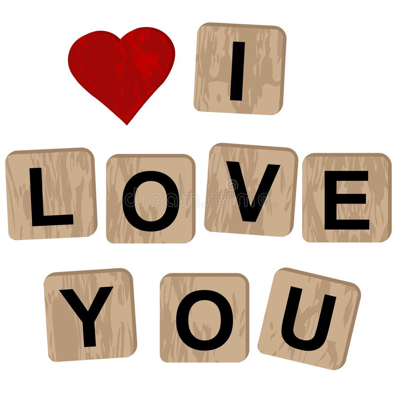 Wooden blocks spelling the inscription I love you. On white background royalty free illustration