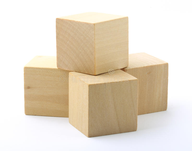 Wooden blocks on white background stock photo