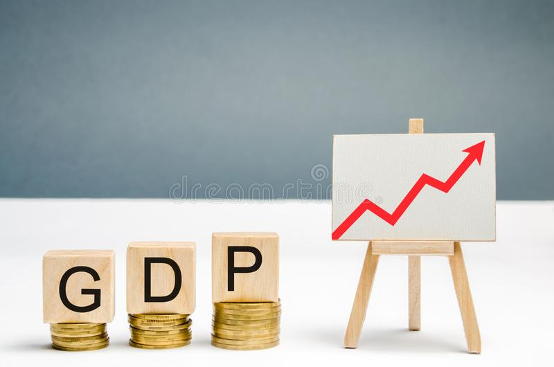 Wooden blocks with the word GDP and up arrow. Technological progress, increasing the level of workers, improving the allocation of. Resources, improving the royalty free stock photos
