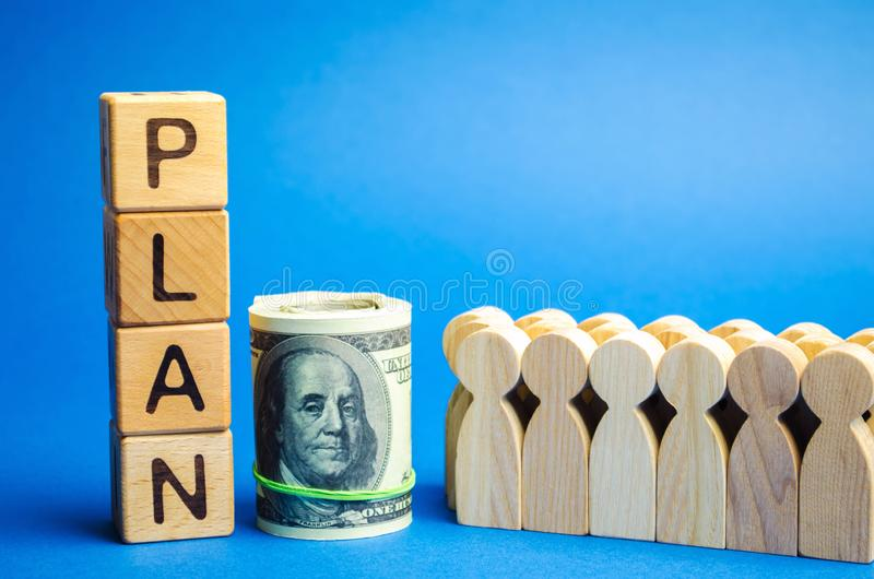 Wooden blocks with the word Plan and a business team standing next to money. Strategy planning. Management business concept. Improving the efficiency of the stock photography